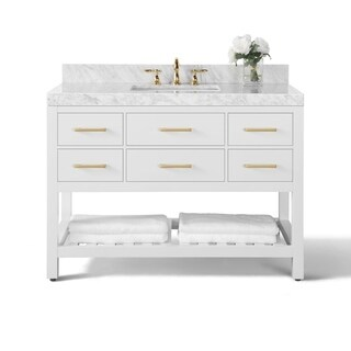 Ancerre Designs Elizabeth White Birchwood 48-inch Vanity with Carrara White Marble Top and Gold Finish Hardware