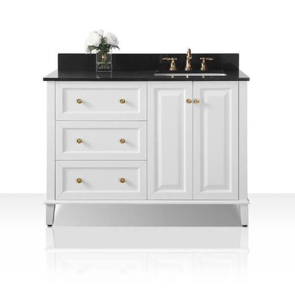 Shop Ancerre Designs Hannah 48 Inch White Black Granite Top Vanity