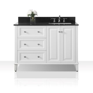 Ancerre Designs Hannah 48-inch White Birchwood Vanity with Black Granite Top with Right-side Sink and Mirror