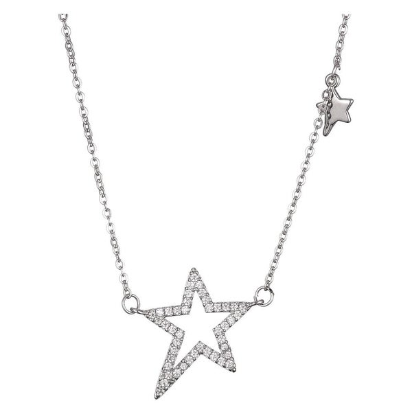 Sterling Silver Rhodium-plated Multi-color Crystal Star with 2in Extender Necklace