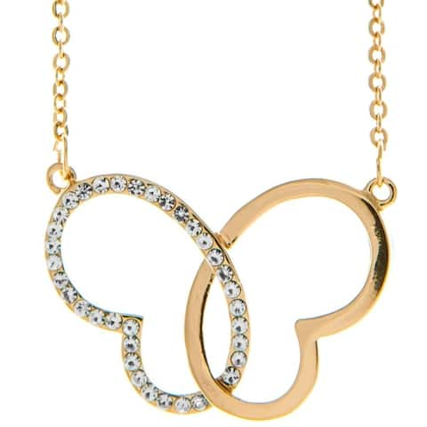 """Rose Gold Plated Necklace with Intertwined Hearts Butterfly Design with a 16"""" and High Quality Crystals by Matashi"""