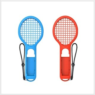 Fun Game Tennis Racket Accessories For Nintendo SWITCH NS Joy-Con Controllers - red&blue