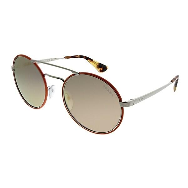 6ceab14dccb1a Prada Round PR 51SS VHS2D2 Women Silver Orange Frame Rose Gold Mirror Lens  Sunglasses