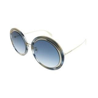 Alexander McQueen Round AM 0150S Edge 005 Women Blue Havana Silver Frame Blue Gradient Lens Sunglasses