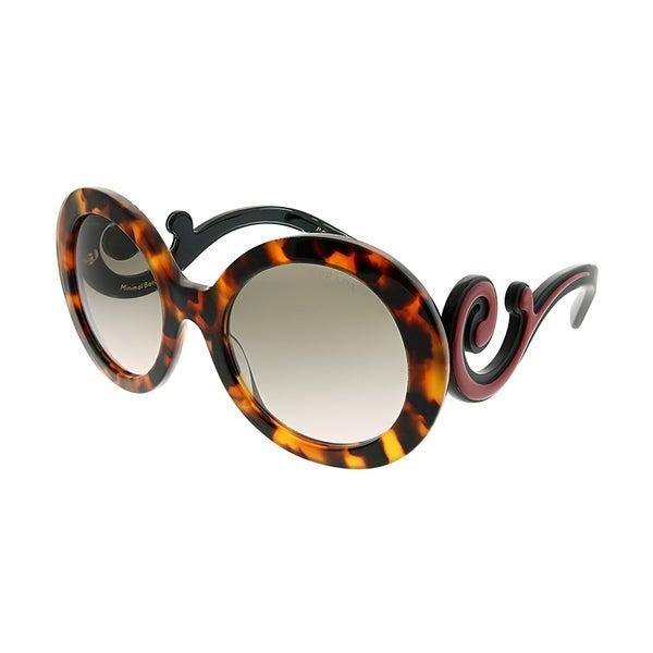 625069a4025d5 Prada Round PR 08TS VAH4K0 Women Spotted Havana Frame Grey Gradient Lens  Sunglasses