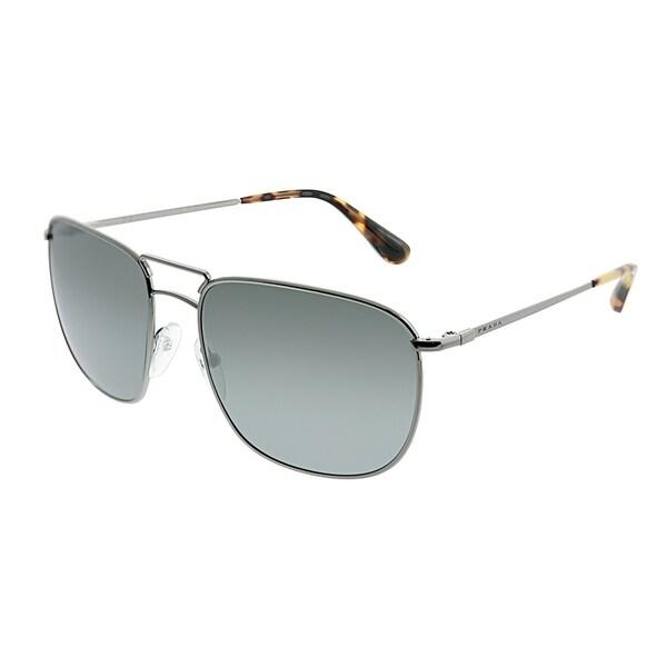 fa6ffe1bcc Prada Aviator PR 52TS 5AV7W1 Unisex Lead Frame Silver Mirror Lens Sunglasses