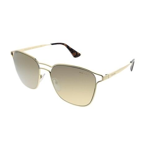 Prada Square PR 54TS ZVN1C0 Women Pale Gold Frame Gold Mirror Lens Sunglasses