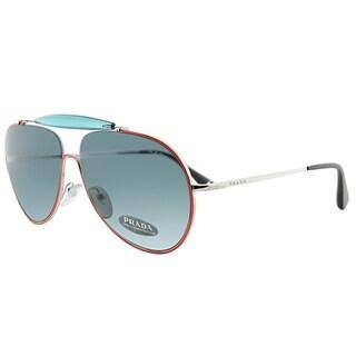 Prada Aviator PR 56SS UFS2K1 Unisex Orange Blue Silver Frame Blue Lens Sunglasses