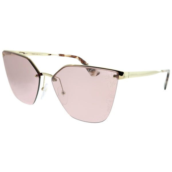 43994b03687f Prada Cat-Eye PR 68TS ZVN117 Women Pale Gold Frame Pink Mirror Lens With  Flowers