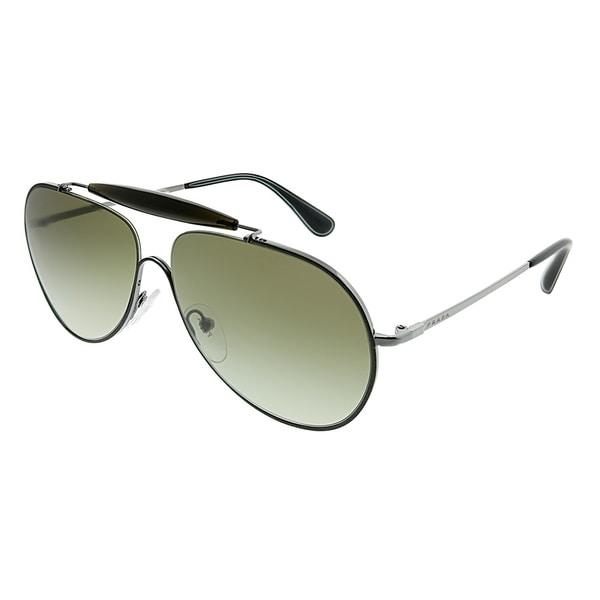 94c15237b Prada Aviator PR 56SS UFT5O2 Unisex Matte Grey Gunmetal Frame Brown Gradient  Lens Sunglasses