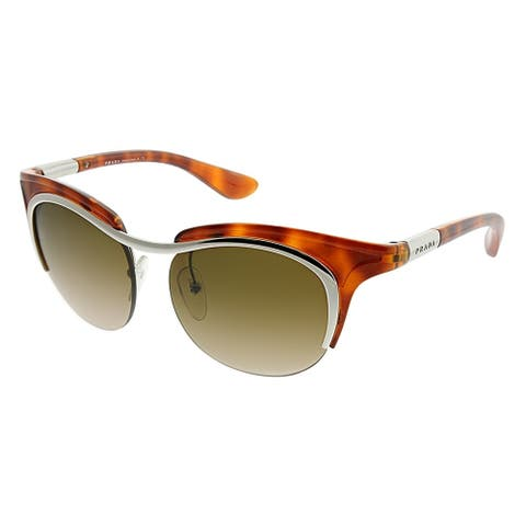 56cdd9d74c2bd Prada Cat-Eye PR 68OS 1BC6S1 Women Havana Silver Frame Brown Gradient Lens  Sunglasses