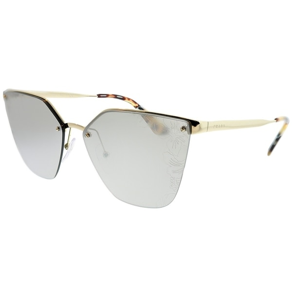 2facc6811908 Prada Cat-Eye PR 68TS ZVN121 Women Pale Gold Frame Silver Mirror Lens With  Flowers