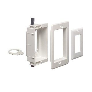 Cmple Arlington LVU1W Single Gang Recessed Low Voltage Electrical Box - White