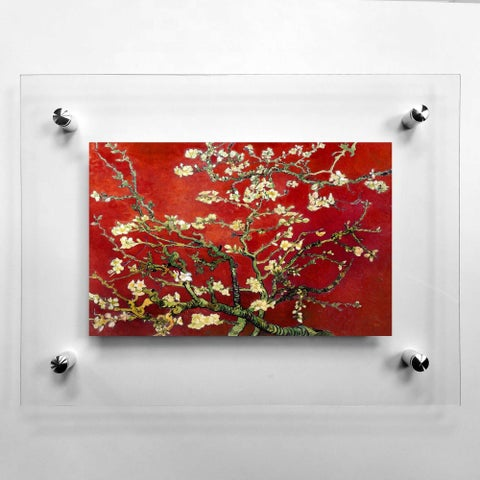 Red Blossoming Almond Tree Acrylic Wall Art