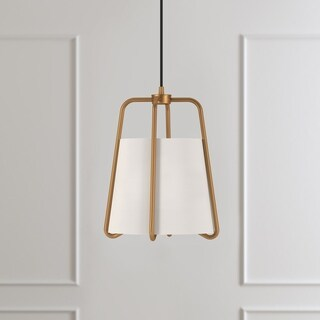 Marduk Contemporary Antique Brass Pendant with White Linen Shade
