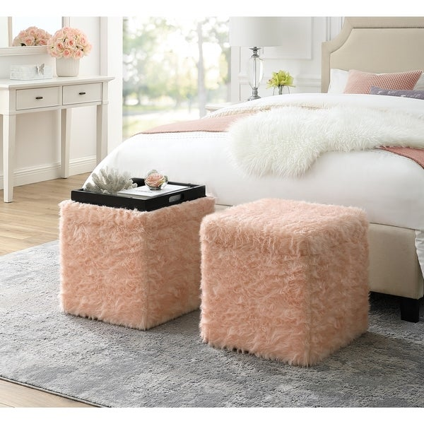Norman Faux Fur Ottoman   Storage Space / Cube Shape / Serving Tray Top