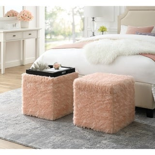 Norman Faux Fur Ottoman - Storage Space / Cube Shape / Serving Tray Top