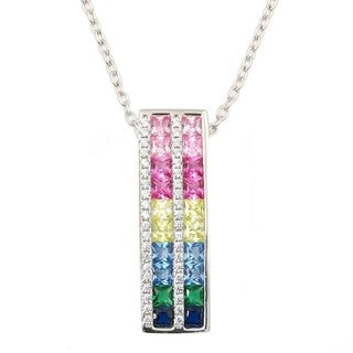 Sterling Silver Pendant with Multi Color Created Sapphire Pendant