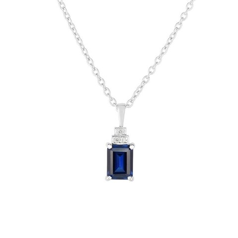 Sterling Silver Created Blue and White Sapphire Pendant with Chain