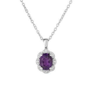 Sterling Silver Pendant Available in Multiple Birthstone Colors with Genuine White Topaz Accents