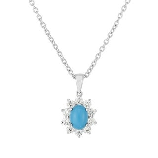 Sterling Silver Recon Turquoise Pendant with Cubic Zirconium