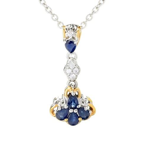 Michael Valitutti Palladium Silver Royal Blue Sapphire & White Zircon Cluster Pendant