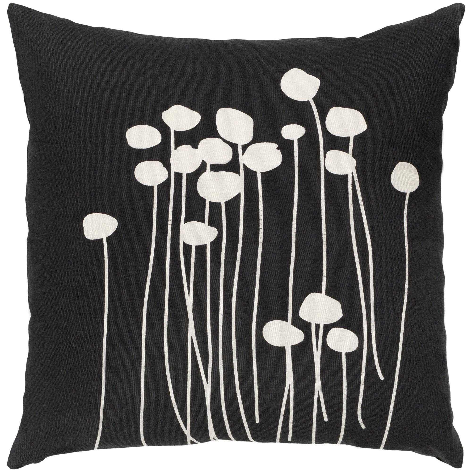 Shop Decorative Black Carlie Floral 22 Inch Throw Pillow Cover
