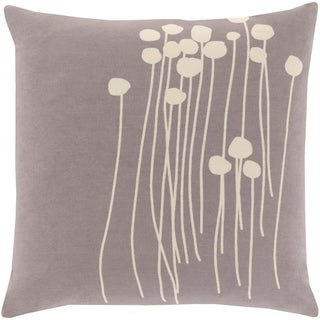 Decorative Grey Carlie Floral 22-inch Throw Pillow Cover