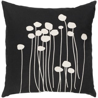 Decorative Black Carlie Floral 18-inch Throw Pillow Cover