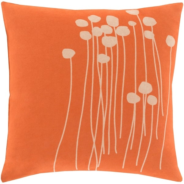 Decorative Rust Carlie Floral 22-inch Throw Pillow Cover