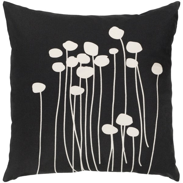 Shop Decorative Black Carlie Floral 20 Inch Throw Pillow Cover On