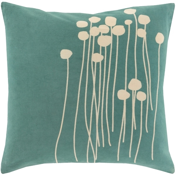 Decorative Teal Carlie Floral 20-inch Throw Pillow Cover