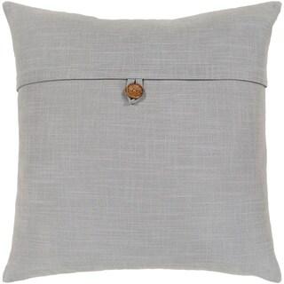 Demetra Traditional Button Light Grey Throw Pillow Cover 18-inch