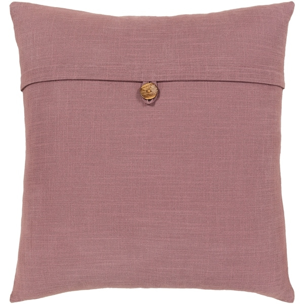 Demetra Traditional Button Mauve Throw Pillow Cover 18-inch