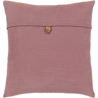Demetra Traditional Button Mauve Throw Pillow Cover 20-inch