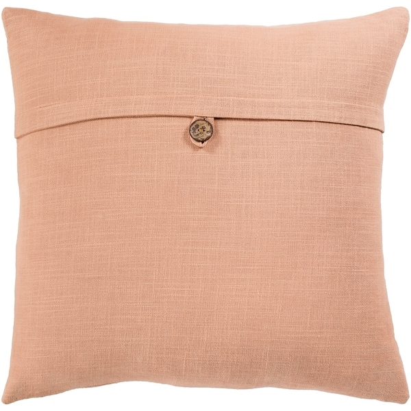 Demetra Traditional Button Tan Throw Pillow Cover 18-inch