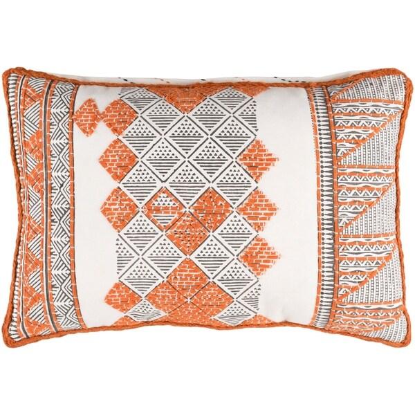 "Decorative Gavin Orange 13"" x 19"" Throw Pillow Cover"