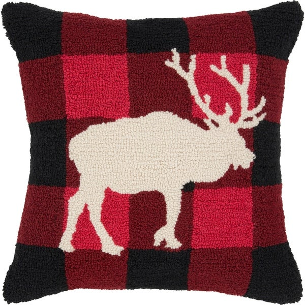 Ciervos Reindeer Holiday Bright Red Throw Pillow Cover 18 inch