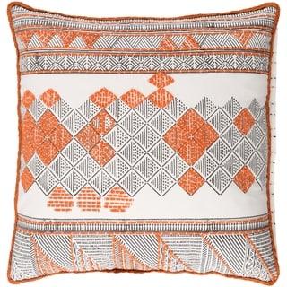 Decorative Gavin Orange 18-inch Throw Pillow Cover