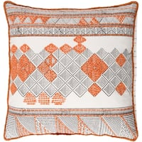 Decorative Gavin Orange 22-inch Throw Pillow Cover