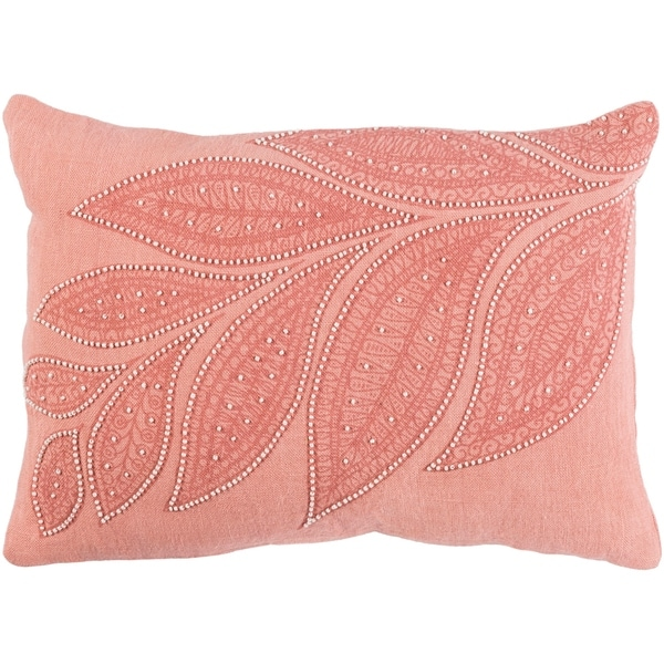 "Decorative Leigh Rose 13"" x 19"" Throw Pillow Cover"
