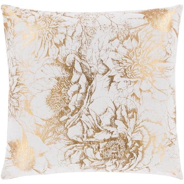 Karolina Metallic Fl Gold Throw Pillow Cover 22 Inch