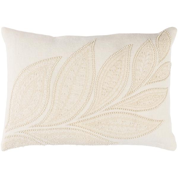 """Decorative Leigh Cream 13"""" x 19"""" Throw Pillow Cover"""
