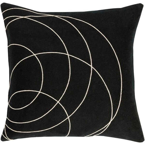 Decorative Liana Black Throw Pillow Cover (18 x 18)