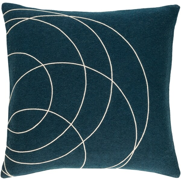 Decorative Liana Dark Blue Throw Pillow Cover (20 x 20)