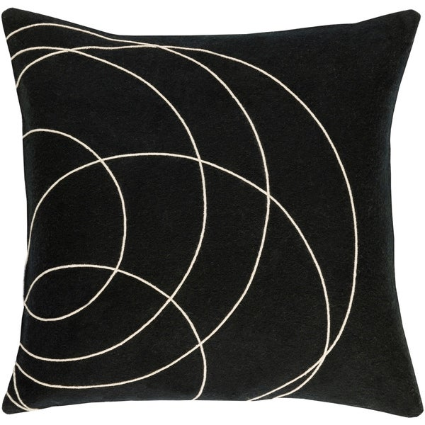 Decorative Liana Black Throw Pillow Cover (22 x 22)