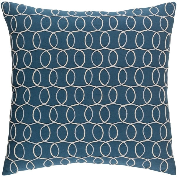 Decorative Lilith Dark Blue 20-inch Throw Pillow Cover