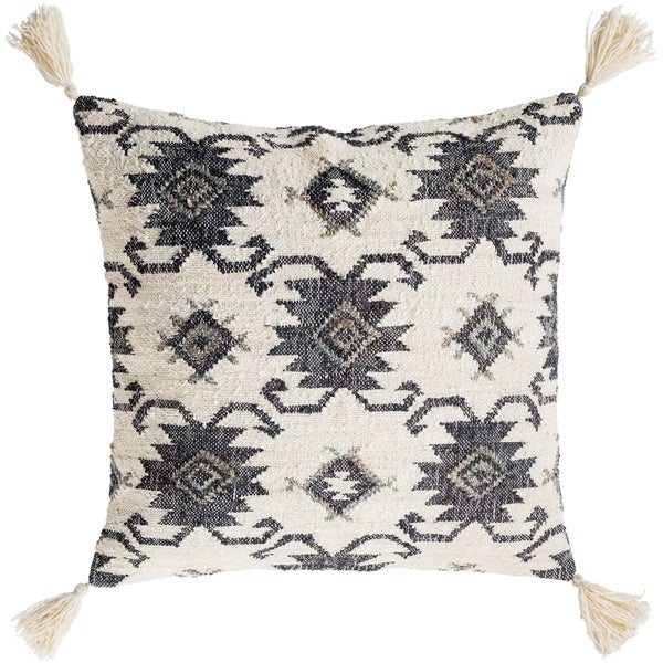 Maddox Traditional Black Feather Down Throw Pillow 30 inch