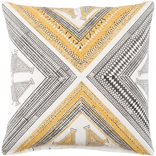 Decorative Lizze Yellow 18-inch Throw Pillow Cover