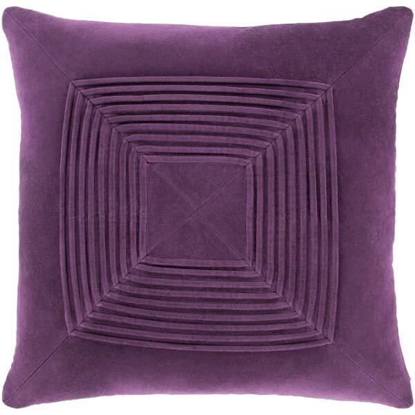 Quadratum Velvet Purple Feather Down Fill Throw Pillow 18-inch